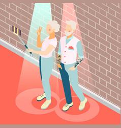 Modern elderly people isometric background vector