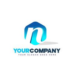 n letter logo hexagon shape modern design vector image