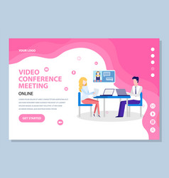 Online video conference web meeting chat vector