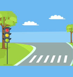 Pedestrian crossing with traffic light and road vector