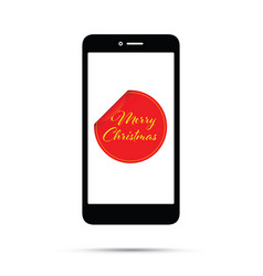 peeling merry christmas sticker on a mobile phone vector image