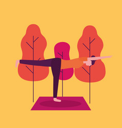 people yoga activity vector image