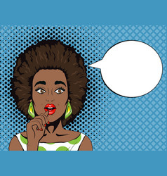 pop art surprised african woman with open mouth vector image