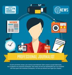 Professional journalist background vector
