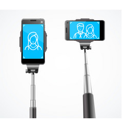 Realistic detailed 3d monopods with phones vector