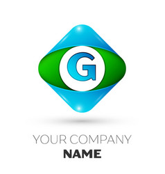 realistic letter g logo in colorful rhombus vector image