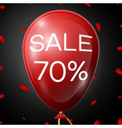 Red baloon with 70 percent discounts over black vector