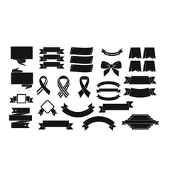 ribbon icon set simple style vector image