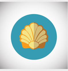 Sea shell on flat background vector