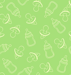 Seamless baby pattern in green tones vector