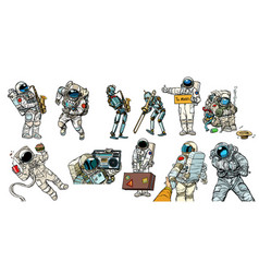 Set collection astronauts and robots vector