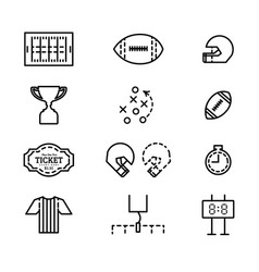 set icons for american football vector image