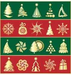 Set of gold firs vector