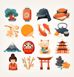 Set of japan related icons vector