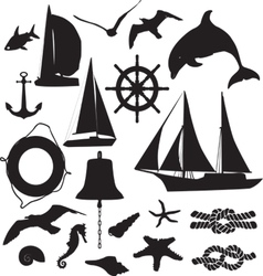 set of silhouettes symbolizing the marine leisure vector image