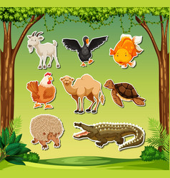 set of sticker character vector image