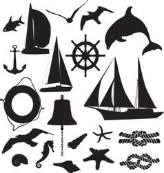 set silhouettes symbolizing marine leisure vector image