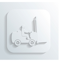 silhouette fork lift truck and operator vector image