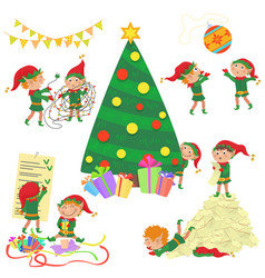 Small cute elves decorating vector
