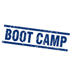 Square grunge blue boot camp stamp vector