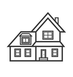 Suburban real estate house icon vector