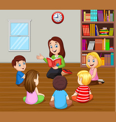 Teacher telling a story to kids in the classroom vector
