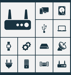 technology icons set with usb hdd sound system vector image