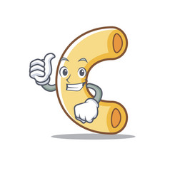 Thumbs up macaroni character cartoon style vector
