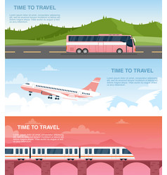 time to travel web banner templates set vector image