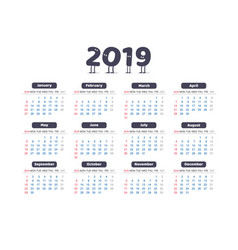 universal simple calendar of 2019 vector image