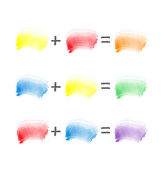 Watercolor brush strokes sampler color theory vector