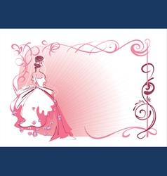 Wedding bride frame vector