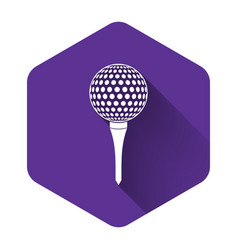 white golf ball on tee icon isolated with long vector image