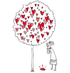 woman and love tree vector image