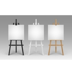 Wooden brown black white easels with canvases vector