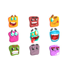 square face colorful emoji set vector image vector image