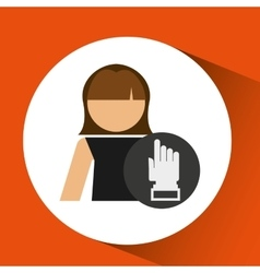 woman hand pointing up icon design vector image vector image
