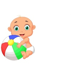 Cute baby cartoon holding colorful ball vector image vector image