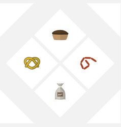 Flat icon meal set of bratwurst sack tart and vector