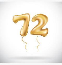 golden number 72 seventy two metallic balloon vector image vector image