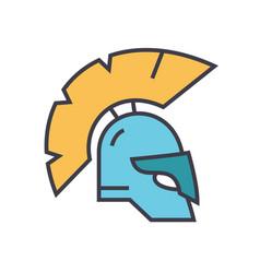 helmet greece flat line concept vector image