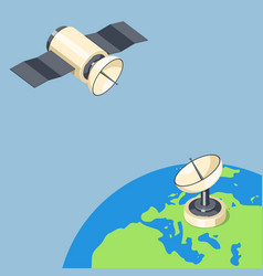 Orbit and dish satellite on earth planet vector
