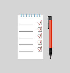 pen and notebook with notes vector image