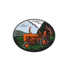 Vintage Tractor Farm Woodcut vector image