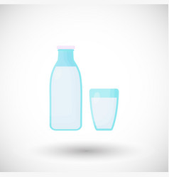 milk flat icon bottle and glass design vector image