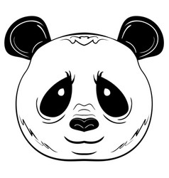 black and white sketch panda face vector image
