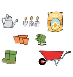 Collage Of Gardening Tools vector image vector image
