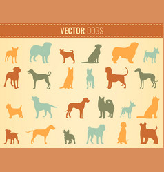 dog breeds silhouettes dog icons collection vector image