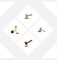 flat icon hammer set of court justice hammer and vector image vector image