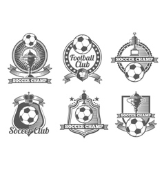 Football or soccer vintage labels logos vector image